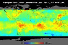 First maps using data collected by OCO-2 revealed