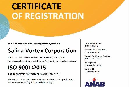 Vortex updates ISO certification